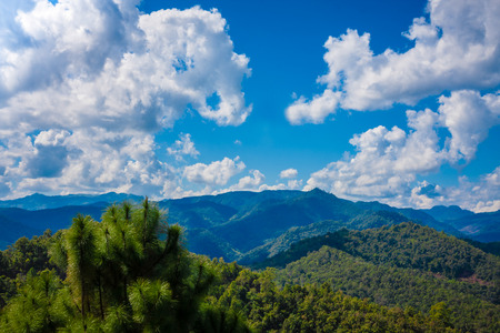 Beautiful Mountain with cloudscape in the sunny day, north of Thailand