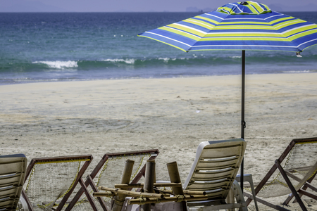 Morning beach chairs and umbrella Stok Fotoğraf