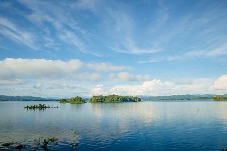 Morning fresh lake and blue shy