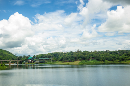 River with clouds blue sky Stok Fotoğraf