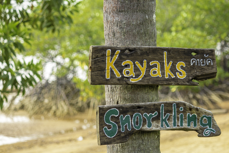 Wood post of Kayak and snorkling