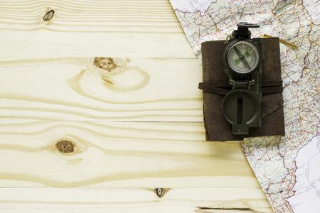 Travel set on wood background Stok Fotoğraf
