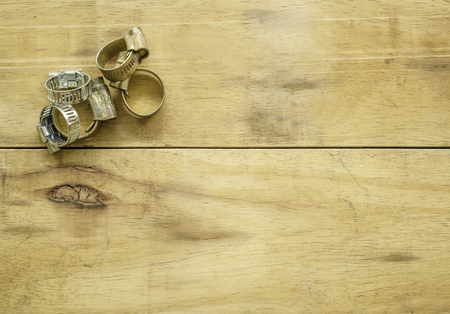 clamp on wood background Stok Fotoğraf - 101856441