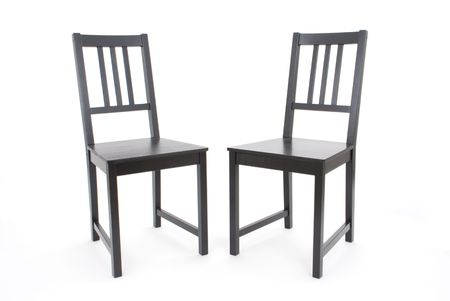two black chairs on white background Stock Photo