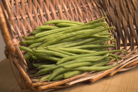 bobby: basket of green bobby beans Stock Photo