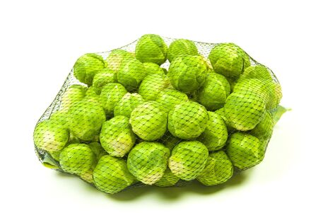 mesh bag of freshly picked organic brussel sprouts