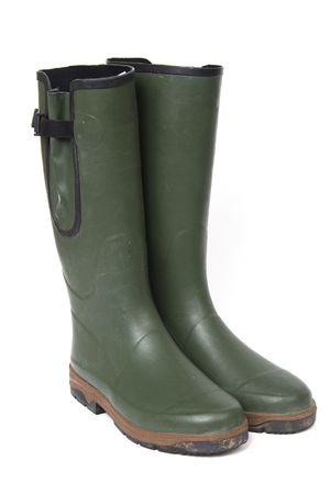 gents: mens green wellington boots Stock Photo