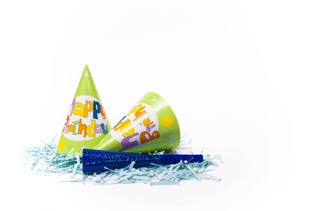 party hats and paper horns on a white background Stock Photo - 4151004