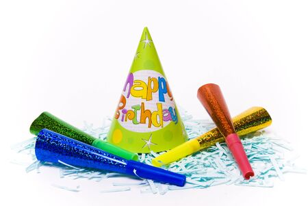 party hats and paper horns on a white background Stock Photo - 4151027