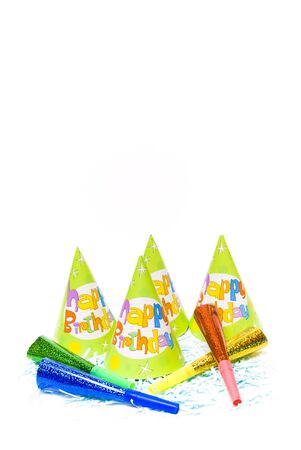 party hats and paper horns on a white background Stock Photo - 4151006