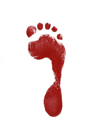 red footprint isolated on white background