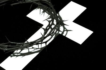 kroon van doornen met schaduw van cross Stockfoto
