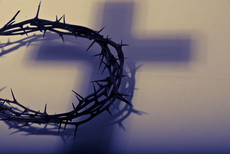 christian easter: crown of thorns with shadow of cross