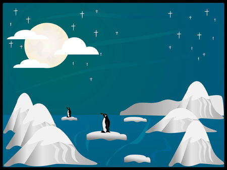 arctic scene with icebergs,mountains,penquins and stars