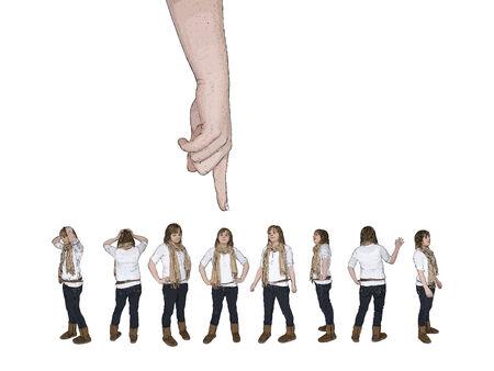 personne seule: illustration vectorielle de la main d'en haut pointage � une personne dans une foule