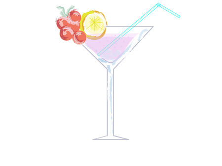 pastel effect illustration of a cocktail glass with a straw and a slice