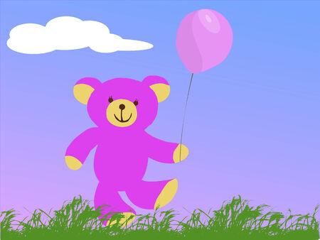 gelukkig roze teddybeer bedrijf een roze ballon