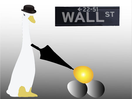 goose with golden egg on wall street Vector