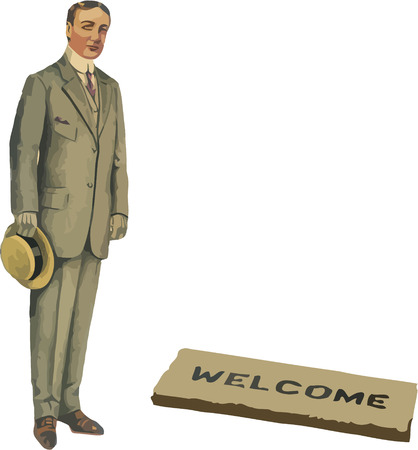 welcome mat: old fashioned gentleman with hat and welcome mat