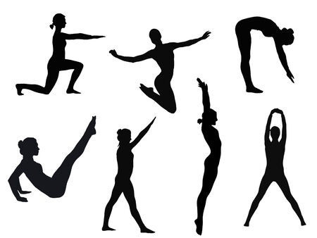 female silhouette in variety of yoga poses