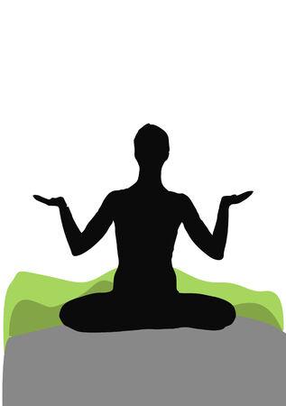 vrouwelijke silhouet in zittende yoga pose