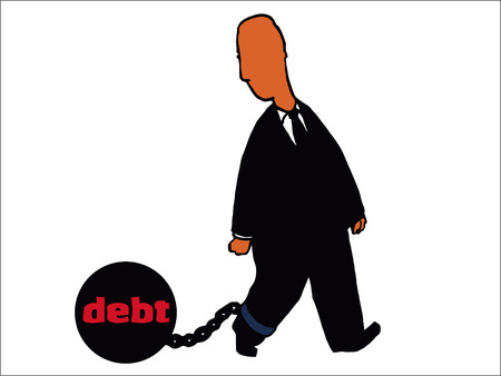 illustration of man dragging ball and chain of debt Illustration