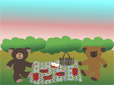 twee teddyberen met een picknick op het gras