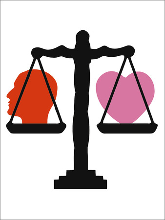 vector illustration of wieghing scale with head and heart Stock Vector - 4351330