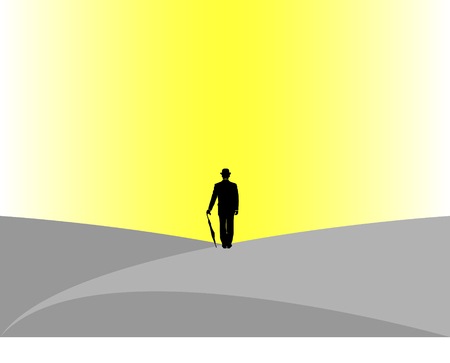 business man with bowler hat and umbrella Stock Vector - 4382436