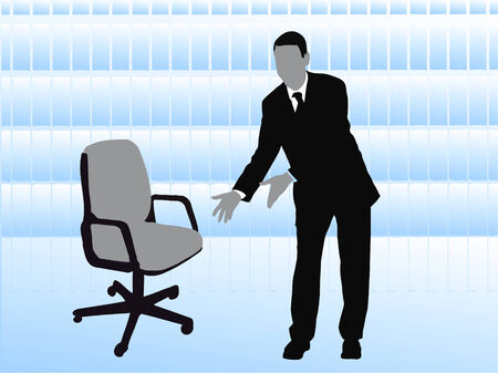 headhunter: uomo d'affari offrendo sedia vuota