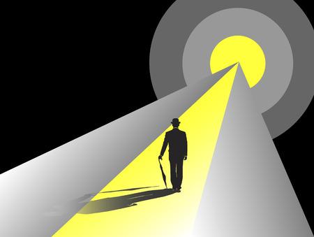 zakenman lopen op weg naar een doel