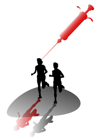 two runners with hyperdermic syringe Stock Vector - 4408231