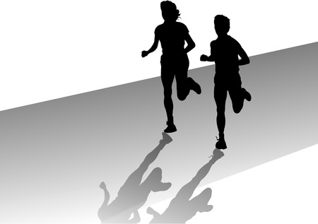 man and woman out jogging Stock Vector - 4408243