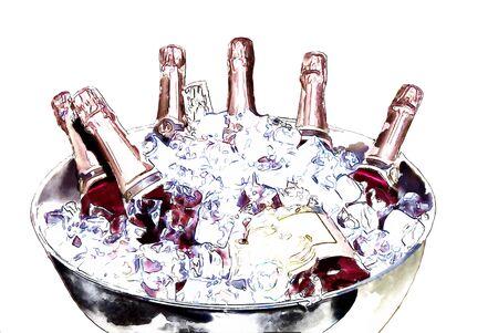 illustratie van verschillende flessen champagne in een zilveren ijsemmer