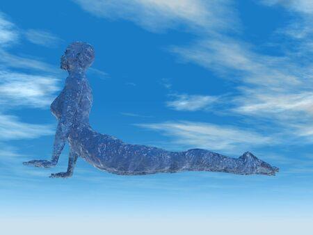 vrouw presterende cobra yoga pose