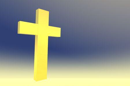 Gele Kruis op gele en blauwe achtergrond Stockfoto