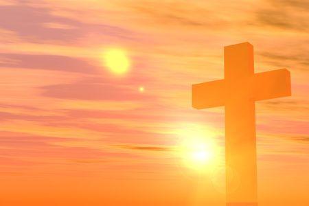 Single kruis op oranje kleurverloop achtergrondkleur