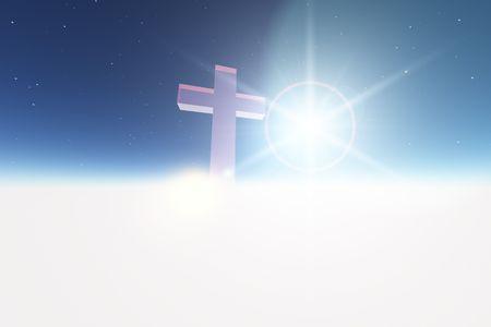 Single kruis op witte wolk achtergrond Stockfoto