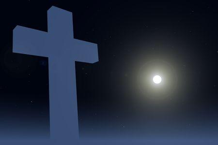 Single kruis op night sky en maan achtergrond Stockfoto