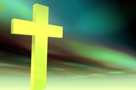 uplifting: Cruz de sencillo sobre fondo de arco iris de color de multi