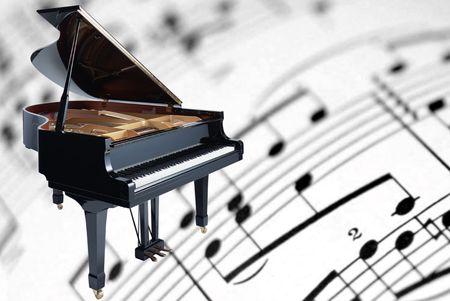 piano de cola: piano de cola sobre un fondo de partituras musicales  Foto de archivo