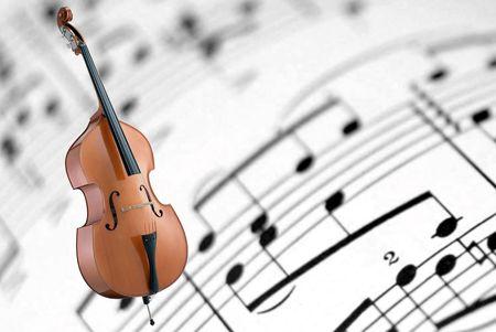 cello op een witte bladmuziek-achtergrond