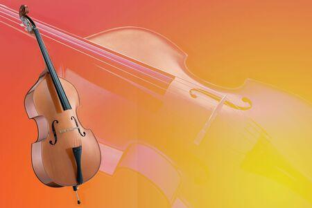 cello op een rode en gele vervaagde achtergrond Stockfoto