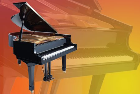 grand piano on a faded piano background photo