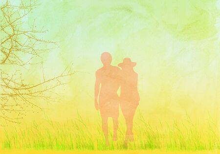washed out: washed out illustration of couple in field