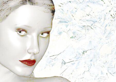 mooie vrouw gezicht badend in zachte moonlight Stockfoto