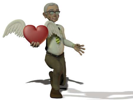 active elderly man on white background photo