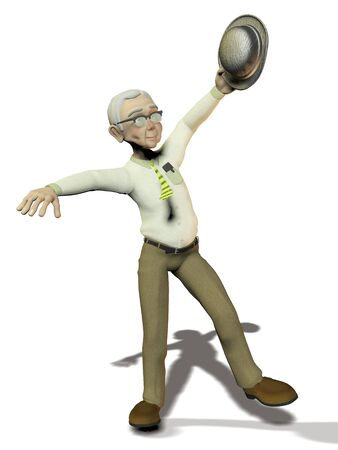 actieve oudere man op witte achtergrond Stockfoto