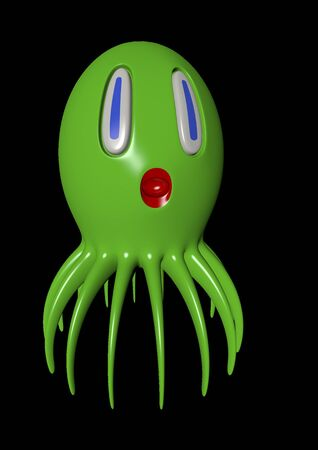 cute green octopus on black background Stock Photo
