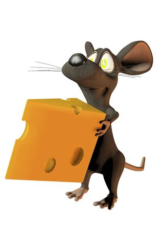 wedge: cheeky cartoon mouse holding a wedge of cheese Stock Photo